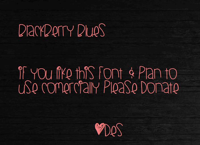 BlackberryBlues font by Des