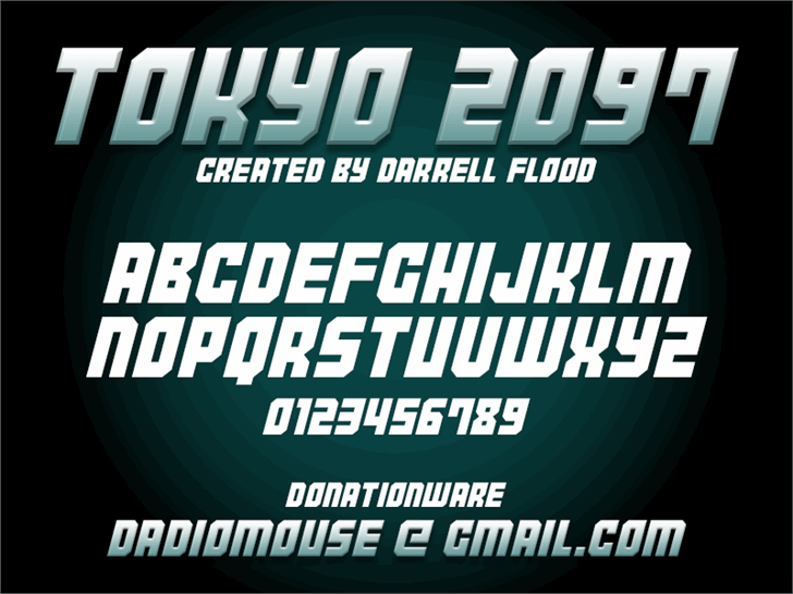 Tokyo 2097 font by Darrell Flood