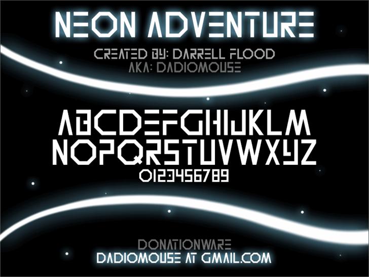 Neon Adventure font by Darrell Flood