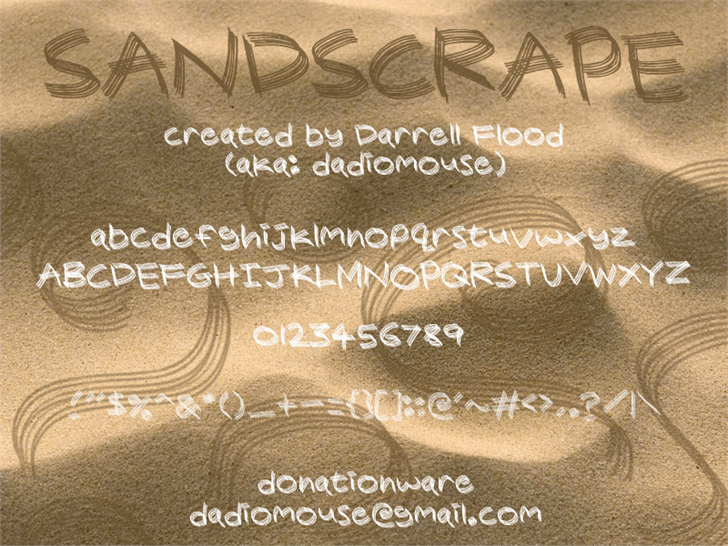 Sandscrape font by Darrell Flood