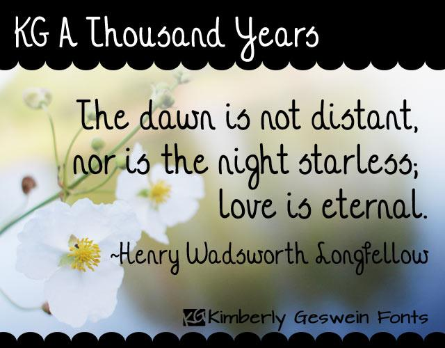 KG A Thousand Years font by Kimberly Geswein