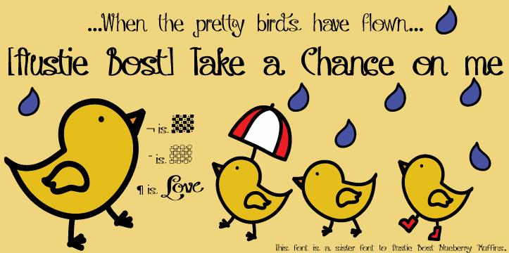 Austie Bost Take a Chance font by Austie Bost Fonts
