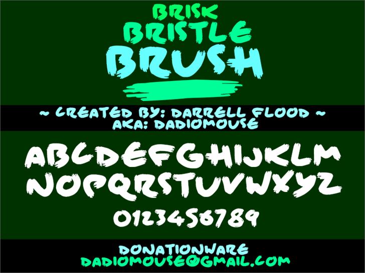 Brisk Bristle Brush font by Darrell Flood