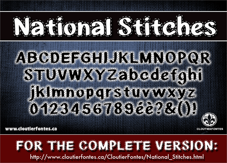 CF National Stitches font by CloutierFontes