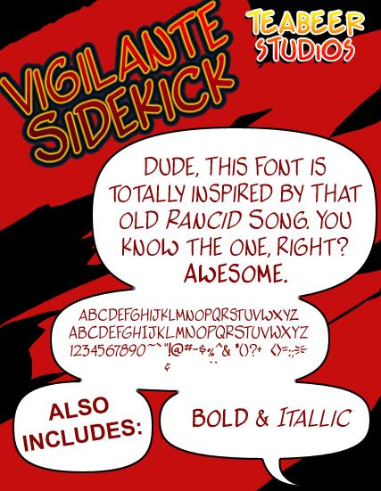 Vigilante Sidekick font by Press Gang Studios