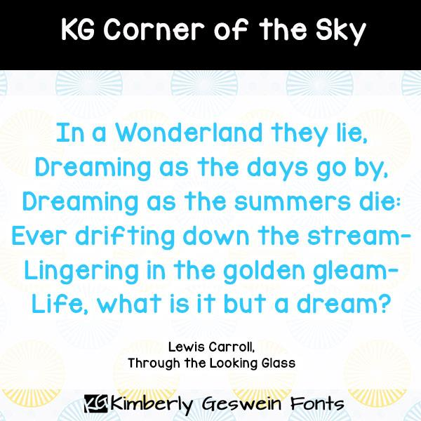 KG Corner of the Sky font by Kimberly Geswein