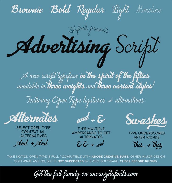 Advertising Script font by Zetafonts
