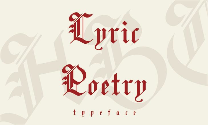Lyric Poetry font by Yining Chen