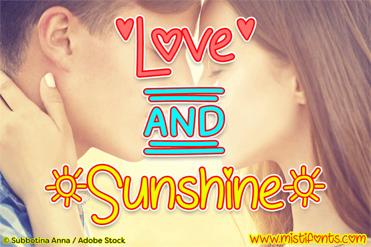 Love & Sunshine font by Misti's Fonts