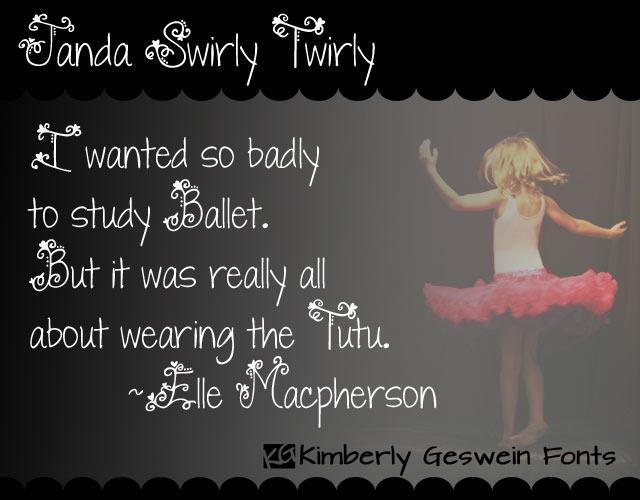Janda Swirly Twirly font by Kimberly Geswein