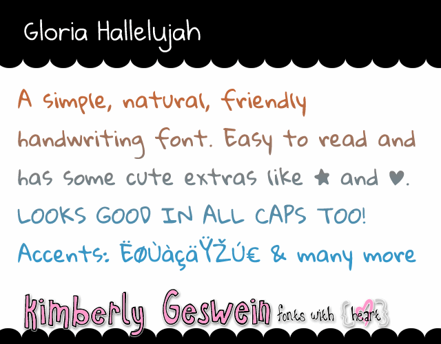 Gloria Hallelujah font by Kimberly Geswein