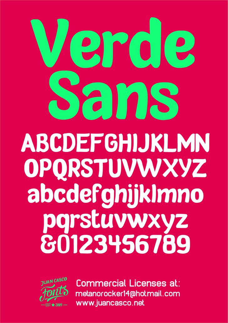 Verde Sans Neue - personal use font by Juan Casco