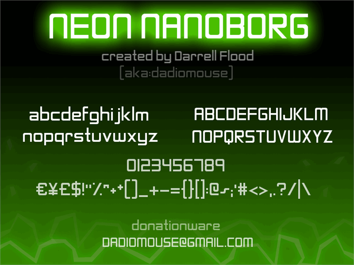 Neon Nanoborg font by Darrell Flood