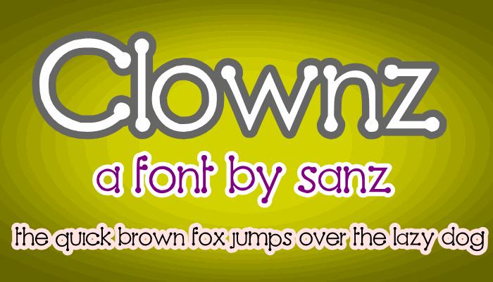 Clownz font by 'Sanz Fonts