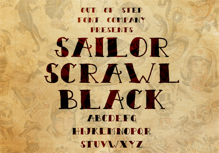 Sailor Scrawl Black font by Out Of Step Font Company