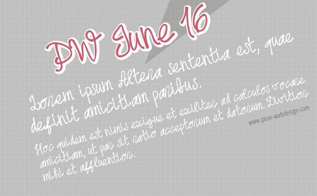 PWjune16 font by Peax Webdesign