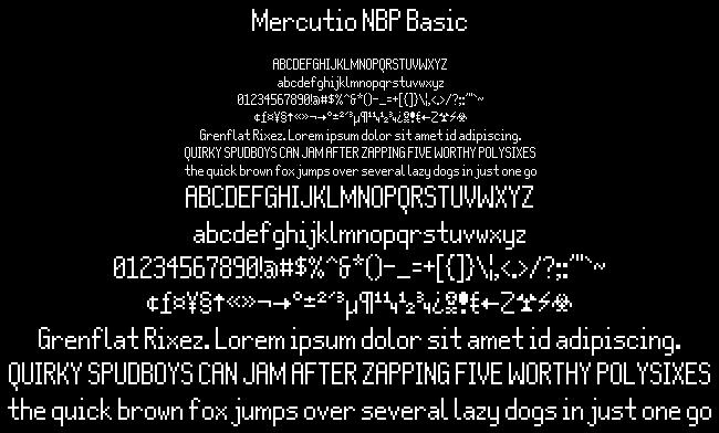 Mercutio NBP Basic font by total FontGeek DTF, Ltd.