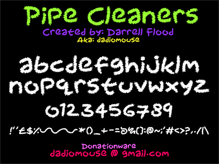 Pipecleaners font by Darrell Flood