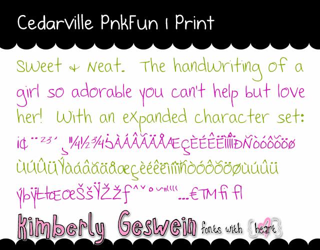 Cedarville Pnkfun 1 Print font by Kimberly Geswein