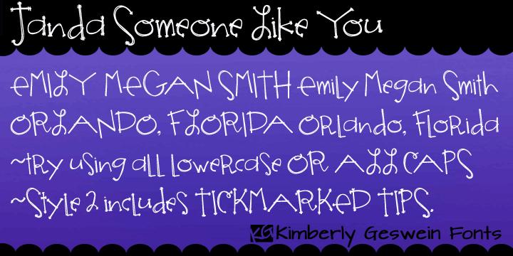 Janda Someone Like You font by Kimberly Geswein