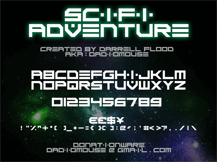 Scifi Adventure font by Darrell Flood