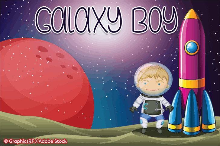 Galaxy Boy font by Misti's Fonts