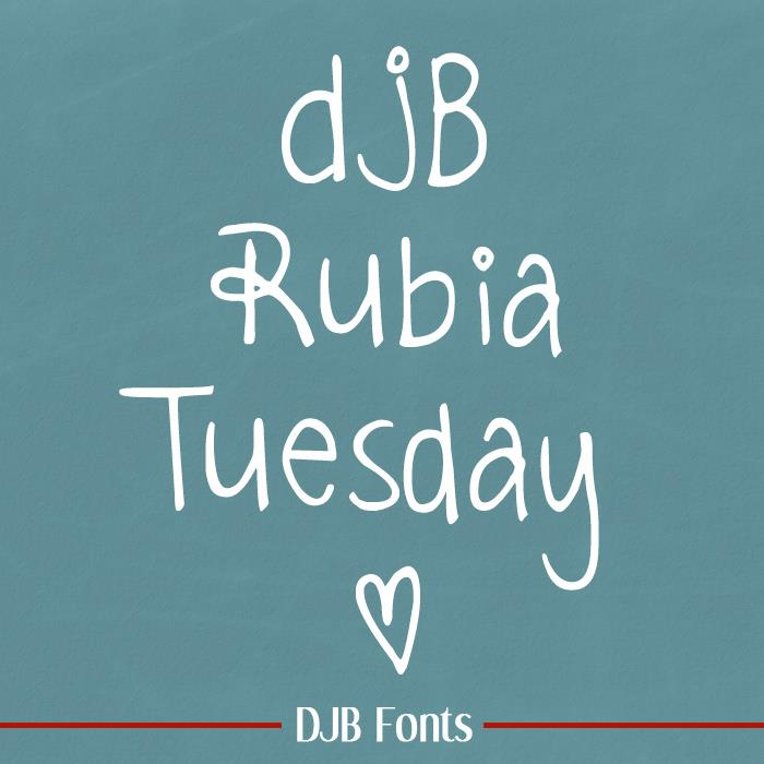 DJB Rubia Tuesday font by Darcy Baldwin Fonts