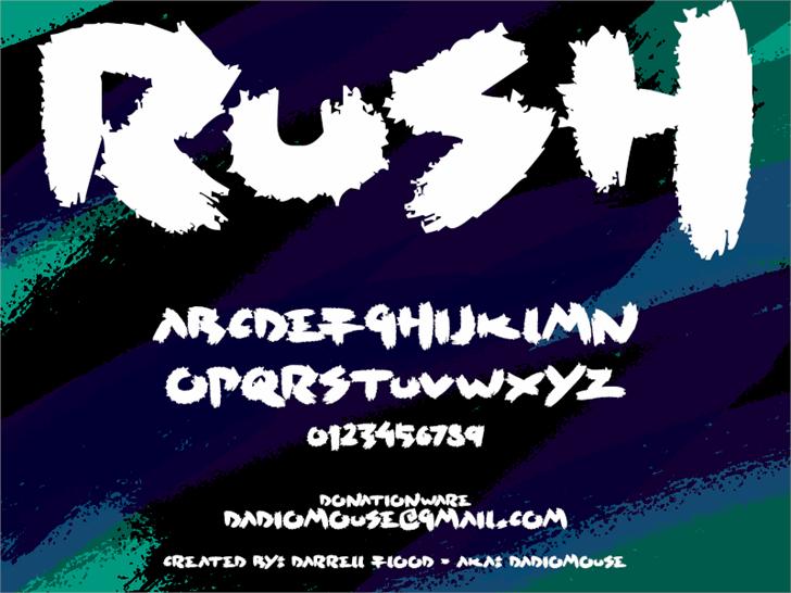 Rush font by Darrell Flood