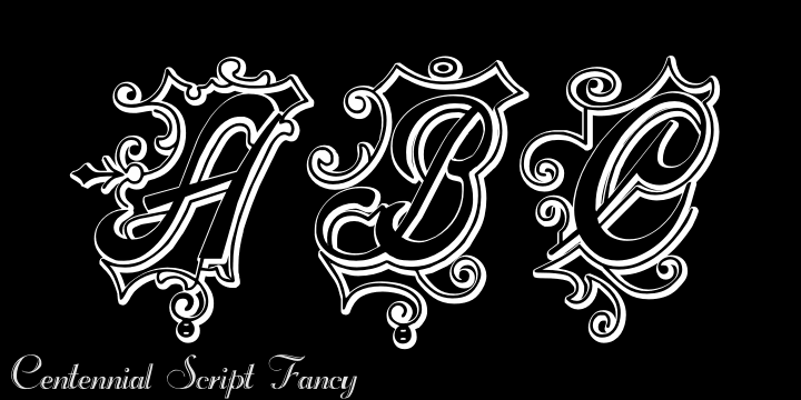 CentennialScriptFancy Three font by Intellecta Design