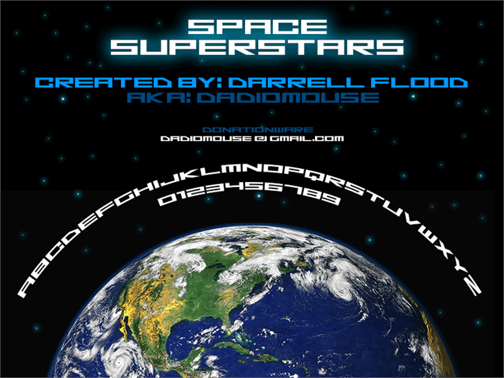 Space Superstars font by Darrell Flood