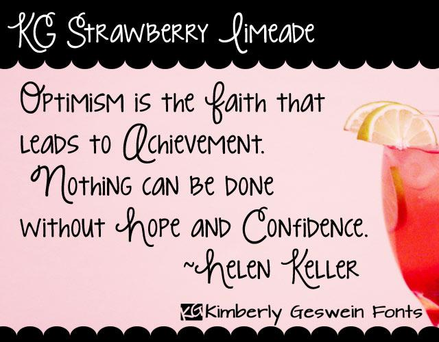 KG Strawberry Limeade font by Kimberly Geswein