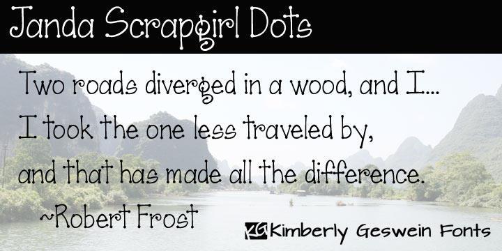 Janda Scrapgirl Dots font by Kimberly Geswein