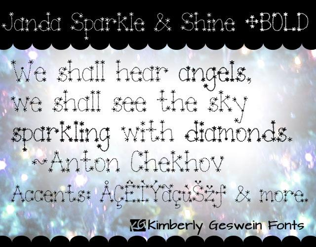 Janda Sparkle and Shine font by Kimberly Geswein