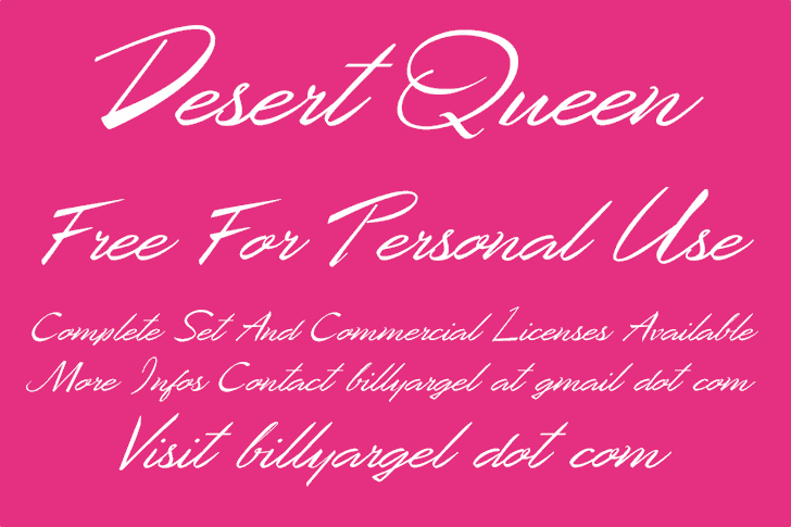 Desert Queen Personal Use font by Billy Argel