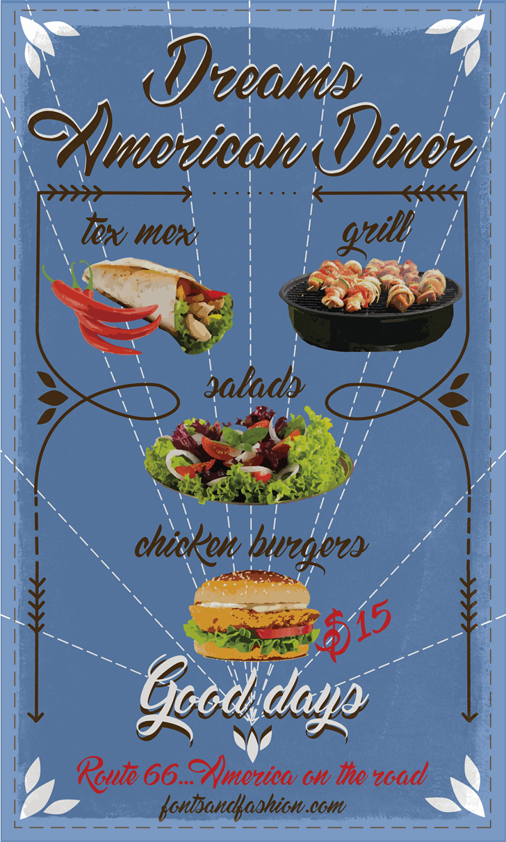 Dream American Diner demo font by Fontsandfashion
