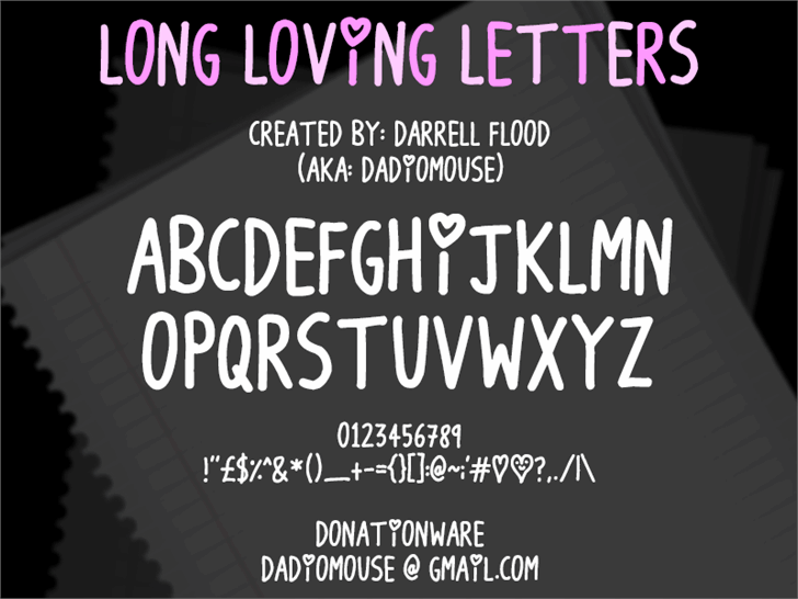 Long Loving Letters font by Darrell Flood