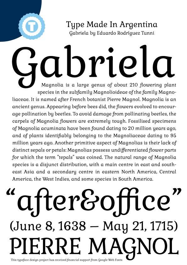 Gabriela font by Eduardo Tunni
