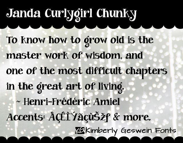 Janda Curlygirl Chunky font by Kimberly Geswein