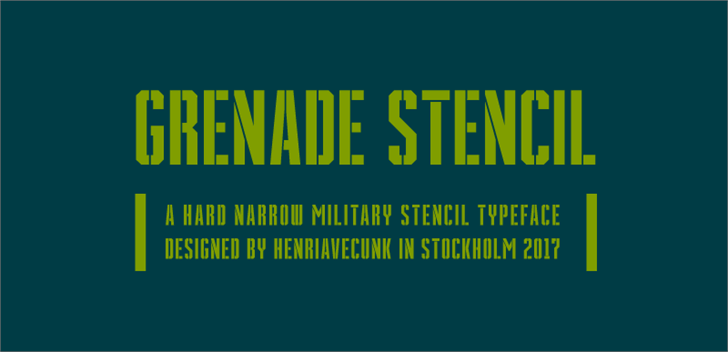 Grenade Stencil font by HENRIavecunK