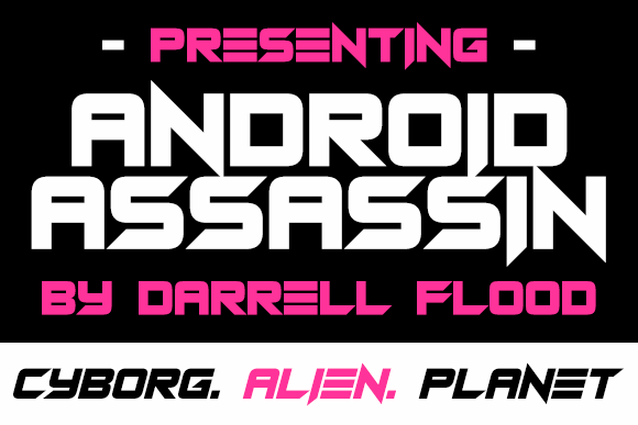 Android Assassin font by Darrell Flood