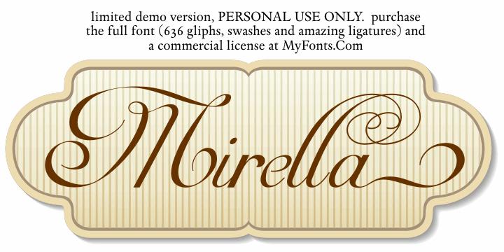 Mirella Script Limited Free Ver font by Intellecta Design