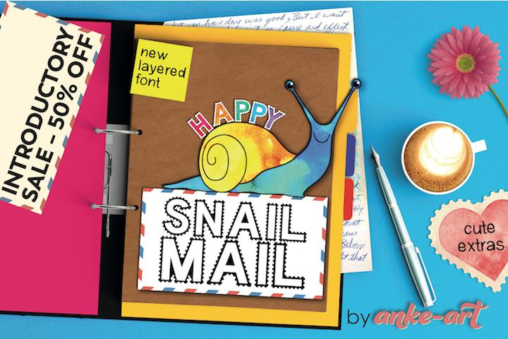 Happy Snail Mail DEMO font by Anke-Art