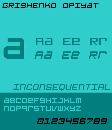 Grishenko Opiyat NBP font by total FontGeek DTF, Ltd.