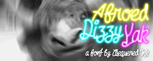Afroed Dizzy Yak font by Chequered Ink