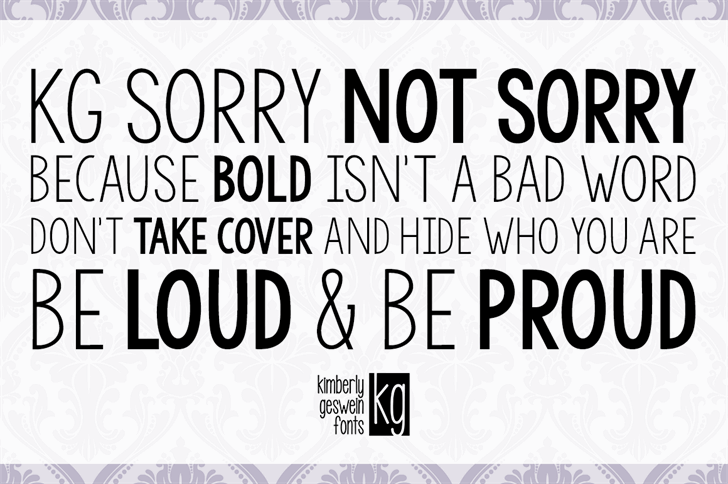 KG Sorry Not Sorry font by Kimberly Geswein