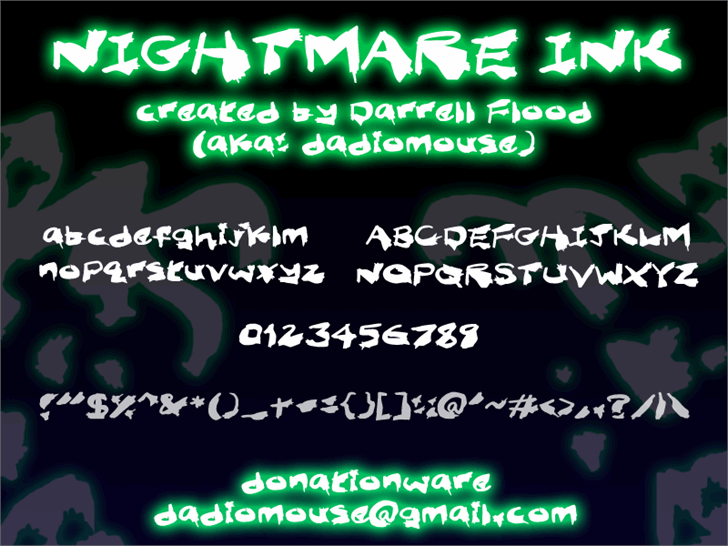 Nightmare Ink font by Darrell Flood