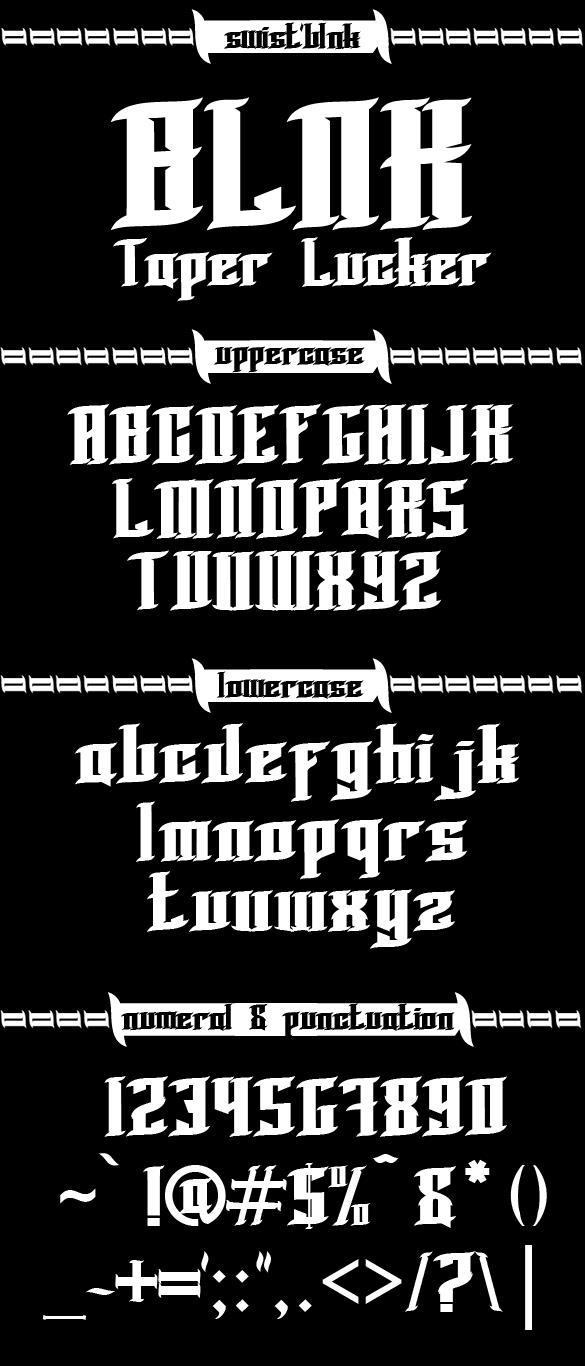BLNK Taper Lucker font by swistblnk