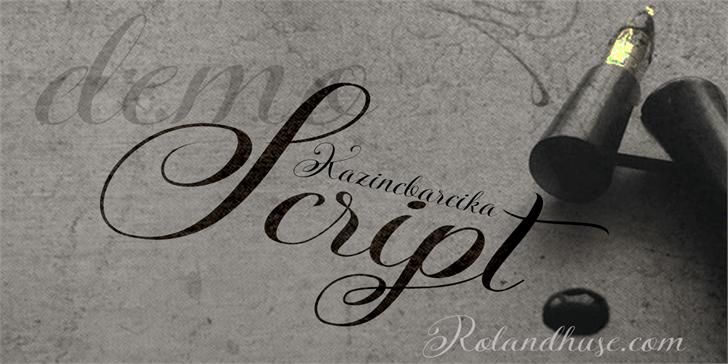 KazincBarcika Script Demo font by Roland Huse Design