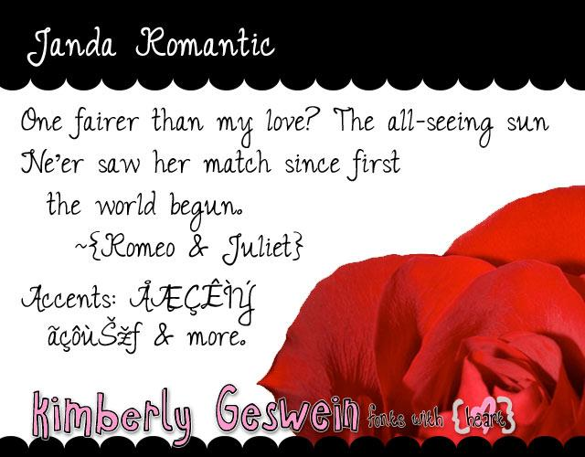 Janda Romantic font by Kimberly Geswein