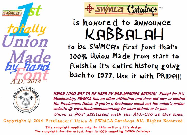 Kabbalah font by SWMCA Brands & Holding LLC.